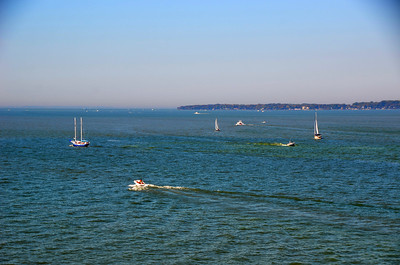 BOATS ON LAKE ERIE FROM MARBLEHEAD LIGHTHOUSE TOWER