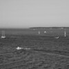 BOATS ON LAKE ERIE FROM MARBLEHEAD LIGHTHOUSE TOWER B&W