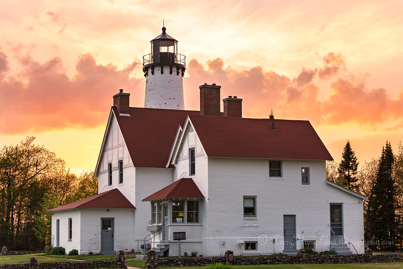 Point Iroquois Lighthouse in Golden Sunset
