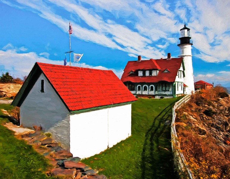 Portland Head Light,Maine with shed
