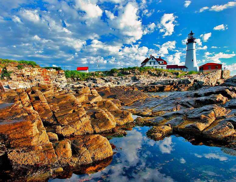 Portland Head Light,Maine rocks