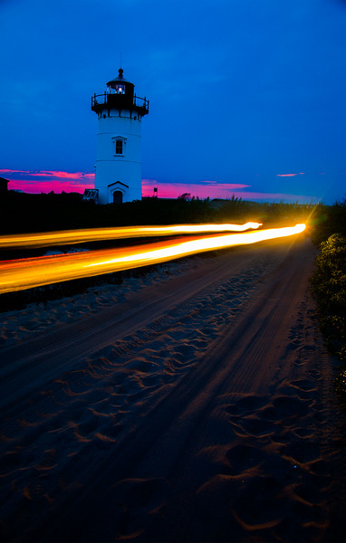 Race Point Light, Provincetown, Mass with car lights