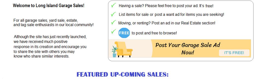 Long Island Garage Sales - Find Yard Sales, Garage Sales Add your