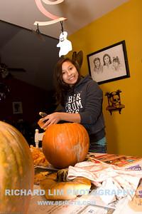 Katie carving away.