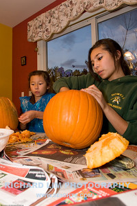 Madi and Rachel carving away.