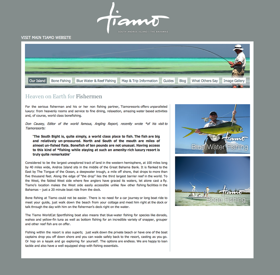 """Tiamo is a wonderful spot for fishers and non-fishers alike - an idyllic spot on south Andros with huge bonefish right on the door-step - check out <a href=""""http://www.tiamoresorts.com/"""">http://www.tiamoresorts.com/</a>"""