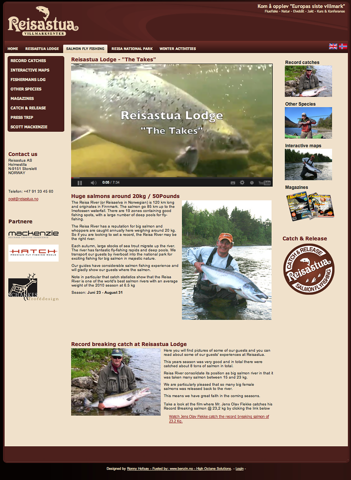"""Reisastua Lodge on the fabulous Reisa River offers just about the best chance of a MONSTER Atlantic Salmon ANYWHERE outside Alta. The Reisa is a stunningly beautiful river and Reisastua Lodge is the perfect base to fish this magical river. See the Reisastua Website at <a href=""""http://reisastua.no/Salmon-fly-fishing.aspx"""">http://reisastua.no/Salmon-fly-fishing.aspx</a> and contact Roar, the Lodge owner at post@reisastua.no"""
