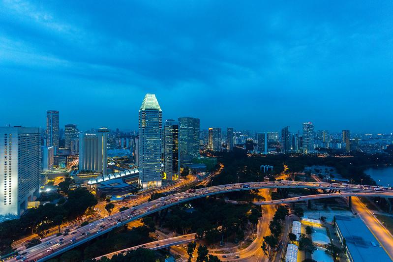 Singapore cityspace on evening twilight sky