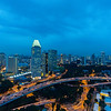 Singapore cityspace on evening twilight sky
