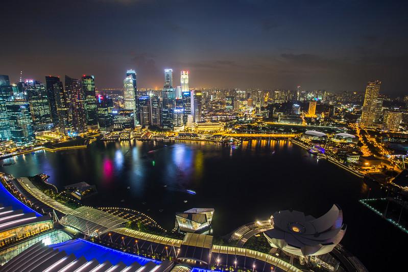 Singapore skyline with topview twilight