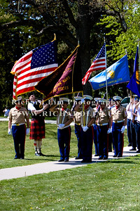 Posting of the Colors by the VFW State Color Guard and VFW Post 4357 Honor Guard with piper, Paul Adam.