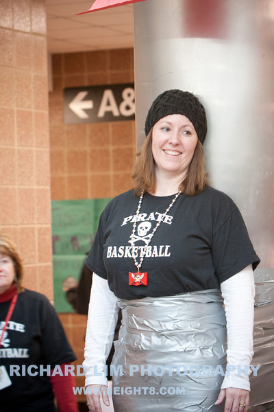 Pinckney Community High School Math Teacher, Lori Maurer, duct taped to one of the posts at the school cafeteria.
