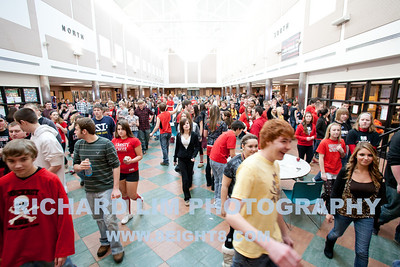 Lunch crowd at Pinckney Community High School cafeteria.