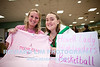 Howell Lady Highlanders Basketball team members Shelby Demeuse and Ashlyn Samples, raising funds for the Komen Foundation.