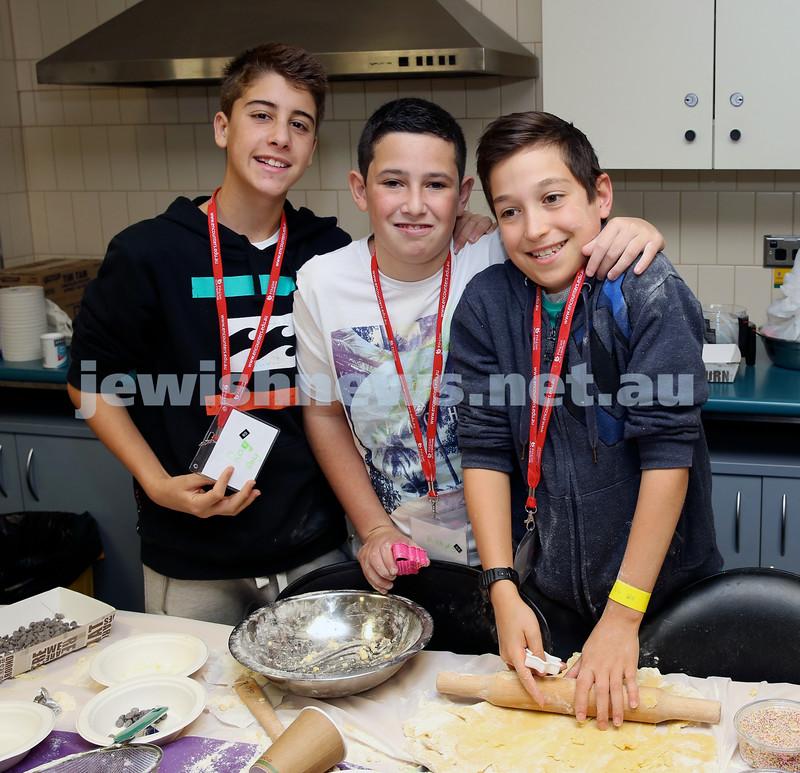 Limmud Oz. Childrens session… Baking biscuits. Ryan Taibel, Judd Weinstein, Yishaya Sterling.