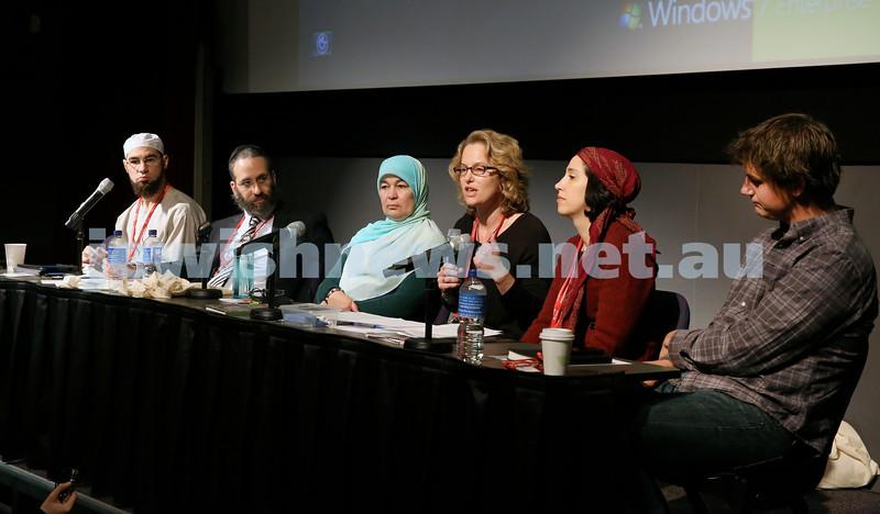 "Limmud Oz. Panel discussion on ""Look how they treat their women."" Sheikh Ahmed Abdo, Rabbi Zalman Kastel, Maha Abdo, Jacquie Seemann, Judy Levitan, Greg Lake."