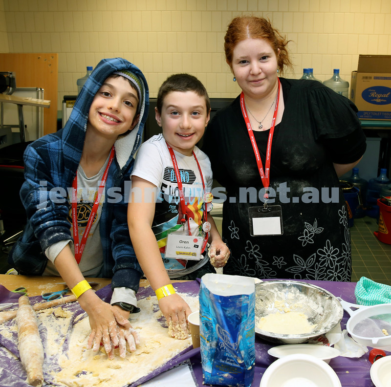Limmud Oz. Children session..Baking biscuits. Meir Sterling, Oren Levin-Kahn, Liat Ravia.