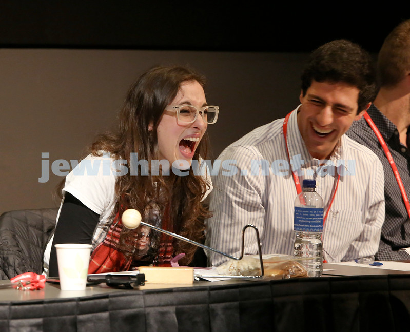 Limmud Oz. Comedy debate. Tami Sussman and Cameron Graf burst out with laughter.