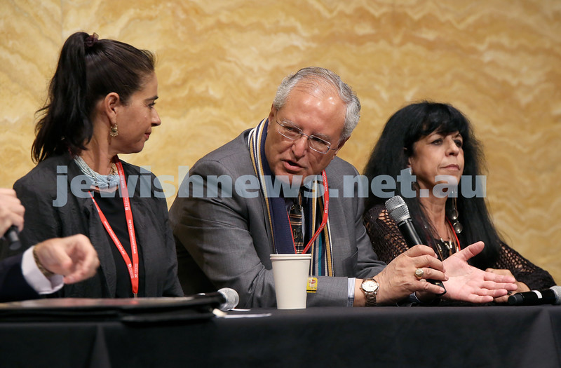Limmud Oz. Hamutal Gouri, Mohammed Dajani, Ruthie Blum during a panel discussion.