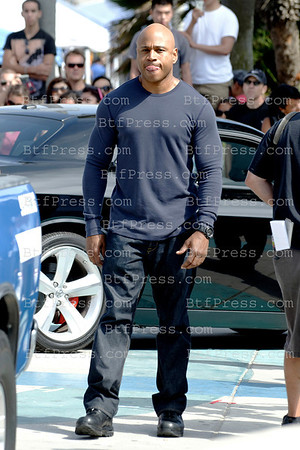 Rapper LL Cool J and Chris O'Donnel during the set of NCIS Los Angeles, co-star Daniela Ruah and Barrett Foa,in Venice California on July 23,2012
