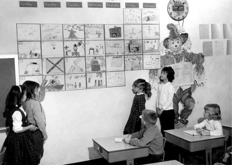LLR with friends and our 3rd grade calendar artwork - photo used in city newspaper (front page as I remember it)