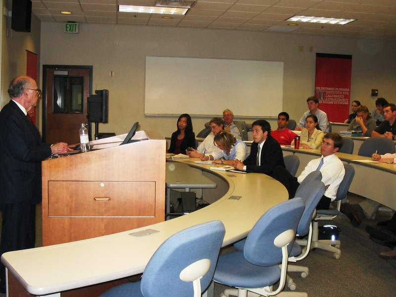 Burson lecturing to group