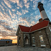 Sunset over the Fire Island Lighthouse in the wintertime
