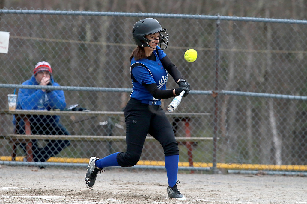 . Lunenburg Middle High School softball played Gardner High School on Friday afternoon, April 12, 2019. LMHS\'s Emma Marinchev swings at a pitch during action in the game. SENTINEL & ENTERPRISE/JOHN LOVE