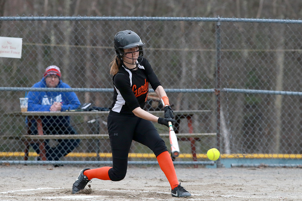 . Lunenburg Middle High School softball played Gardner High School on Friday afternoon, April 12, 2019. GHS\'s Becca Lushua swings at a pitch during action in the game. SENTINEL & ENTERPRISE/JOHN LOVE