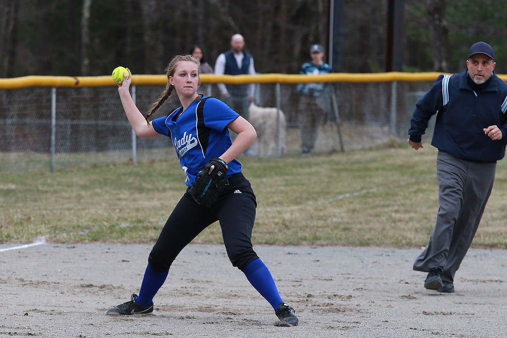 . Lunenburg Middle High School softball played Gardner High School on Friday afternoon, April 12, 2019. LMHS\'s Payton Whitaker winds up to throw to first after picking up a ground ball during action in the game. SENTINEL & ENTERPRISE/JOHN LOVE