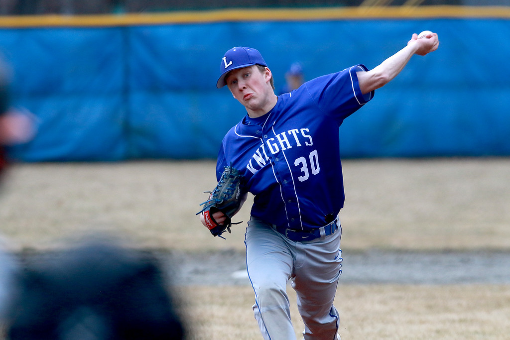 . Lunenburg Middle High School baseball played Gardner High School on Friday afternoon, April 12, 2019. LMHS\'s pitcher Alan Hyatt winds up to deliver a pitch during the game. Hyatt struck out 10 in a one-hitter, winning 6-0. SENTINEL & ENTERPRISE/JOHN LOVE