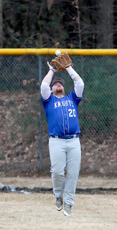 . Lunenburg Middle High School baseball played Gardner High School on Friday afternoon, April 12, 2019. LMHS\'s Braden Nash gets under a pop fly to right field during action in the game. SENTINEL & ENTERPRISE/JOHN LOVE