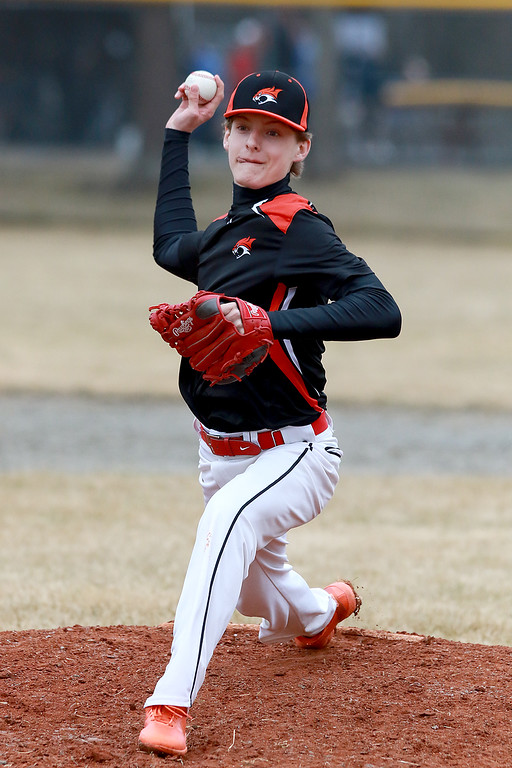 . Lunenburg Middle High School baseball played Gardner High School on Friday afternoon, April 12, 2019. GHS\'s pitcher Kyle Samson winds up to deliver a pitch during action in the game. SENTINEL & ENTERPRISE/JOHN LOVE