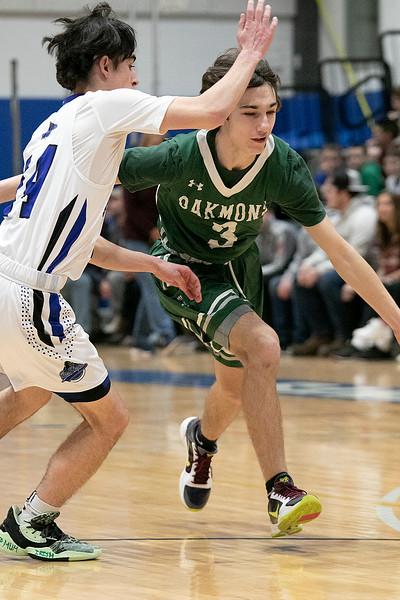 Oakmont Regional High School boys basketball played Lunenburg Middle High School on Friday night, Feb. 14, 2020 in Lunenburg. ORHS's #3 Brandan Hulecki and LMHS's #14 Justin DiGeronimo. SENTINEL & ENTERPRISE/JOHN LOVE