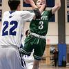 Oakmont Regional High School boys basketball played Lunenburg Middle High School on Friday night, Feb. 14, 2020 in Lunenburg. ORHS's #3 Brandan Hulecki and LMHS's #22 Max Meilleur. SENTINEL & ENTERPRISE/JOHN LOVE