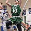 Oakmont Regional High School boys basketball played Lunenburg Middle High School on Friday night, Feb. 14, 2020 in Lunenburg. ORHS's #10 Jordan Hatch and LMHS's #3 Nicholas Ouellette. SENTINEL & ENTERPRISE/JOHN LOVE