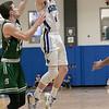 Oakmont Regional High School boys basketball played Lunenburg Middle High School on Friday night, Feb. 14, 2020 in Lunenburg. LMHS's #4 William Peplowski trying to stop his shot is ORHS's #10 Jordan Hatch. ENTINEL & ENTERPRISE/JOHN LOVE