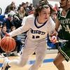 Oakmont Regional High School boys basketball played Lunenburg Middle High School on Friday night, Feb. 14, 2020 in Lunenburg. LMHS's #12 Samuel Seminatore and ORHS's #24 Sharik Khan. SENTINEL & ENTERPRISE/JOHN LOVE