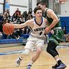 Oakmont Regional High School boys basketball played Lunenburg Middle High School on Friday night, Feb. 14, 2020 in Lunenburg. LMHS's #4 Wiliam Peplowski and ORHS's #10 Jordan Hatch. SENTINEL & ENTERPRISE/JOHN LOVE