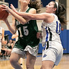 Oakmont Regional High School girls basketball played Lunenburg Middle High School on Friday night, Feb. 14, 2020 in Lunenburg. ORHS's #15 Emma Cullen and LMHS's #10 Kenzie Mannone. SENTINEL & ENTERPRISE/JOHN LOVE