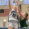 Oakmont Regional High School girls basketball played Lunenburg Middle High School on Friday night, Feb. 14, 2020 in Lunenburg. LMHS's #25 Autumn Tibbetts and ORHS #4 Audrey Dolan. SENTINEL & ENTERPRISE/JOHN LOVE