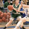 Oakmont Regional High School girls basketball played Lunenburg Middle High School on Friday night, Feb. 14, 2020 in Lunenburg. ORHS's #5 Sam Gastonguay is covered by LMHS's #3 Sarah Costich. SENTINEL & ENTERPRISE/JOHN LOVE