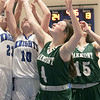 Oakmont Regional High School girls basketball played Lunenburg Middle High School on Friday night, Feb. 14, 2020 in Lunenburg. going up for a rebound is, from left, LMHS's #23 Bella Petricca and #10 Kenzie Mannone with ORHS's #4 Audrey Dolan and #15 Emma Cullen.SENTINEL & ENTERPRISE/JOHN LOVE