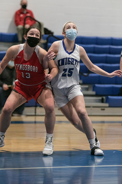 Lunenburg Middle High School girls basketball played Tyngsboro High School on Thursday night at home. Fighting for positiion under the basket buring a free throw is THS's #13 Rebecca Lyon and LMHS's #25 Autumn Tibbetts. SENTINEL & ENTERPRISE/JOHN LOVE