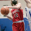 Lunenburg Middle High School girls basketball played Tyngsboro High School on Thursday night at home. Trying to get a shot off is THS's #12 Carly DiMento. SENTINEL & ENTERPRISE/JOHN LOVE