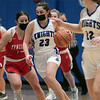 Lunenburg Middle High School girls basketball played Tyngsboro High School on Thursday night at home. Getting a fast break is LMHS's #23 Bella Petricca. SENTINEL & ENTERPRISE/JOHN LOVE