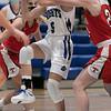 Lunenburg Middle High School girls basketball played Tyngsboro High School on Thursday night at home. LMHS's Miranda Boulay drives to the basket. SENTINEL & ENTERPRISE/JOHN LOVE