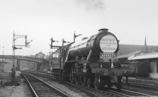 60047 Donovan at Harringay May 1961 with a large headboard promoting Hotpoint washing machines for Australia