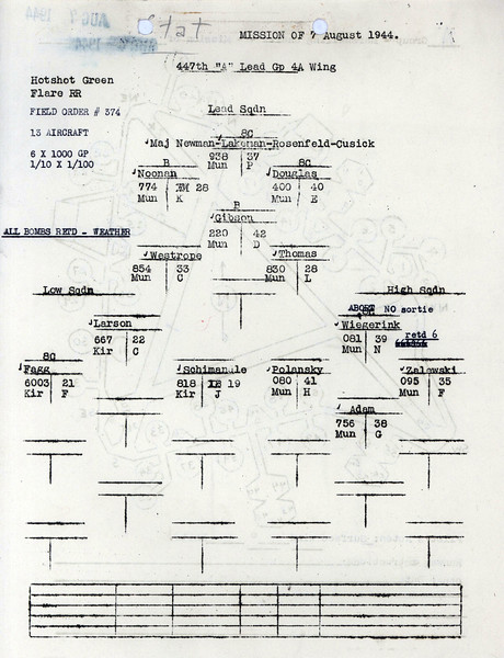 AUG 7 1944 FORMATION 3