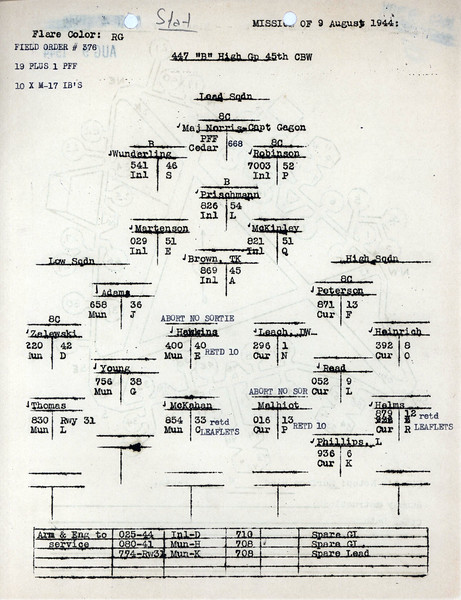 AUG 9 1944 FORMATION 1